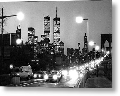 Brooklyn Bridge Traffic II Dusk 1980s Metal Print
