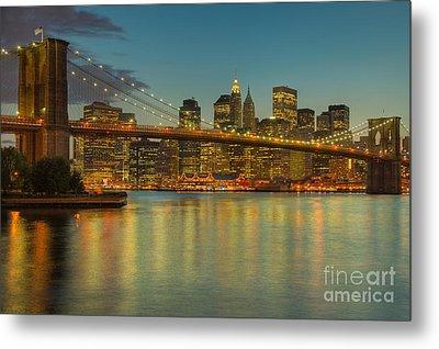 Brooklyn Bridge Twilight Metal Print by Clarence Holmes