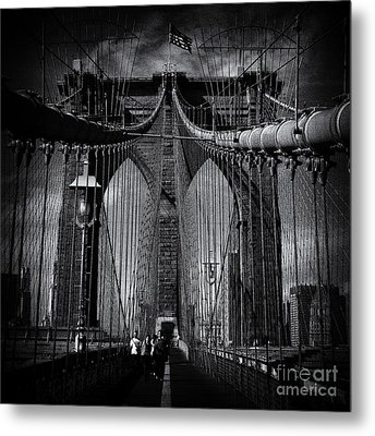 Brooklyn Bridge Up Close New York City Metal Print by Sabine Jacobs