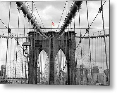 Brooklyn Bridge With American Flag Metal Print