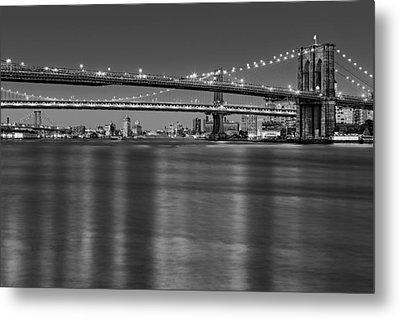 Brooklyn Manhattan And Williamsburg Bridges Nyc Bw Metal Print