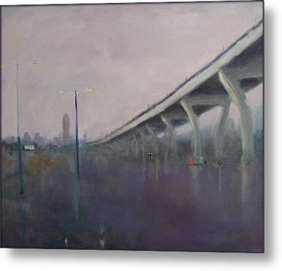 Metal Print featuring the painting Brooklyn Underpass by Rosemarie Hakim