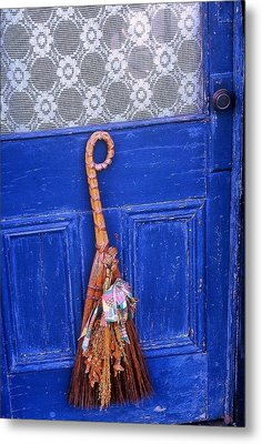 Metal Print featuring the photograph Broom On Blue Door by Rodney Lee Williams
