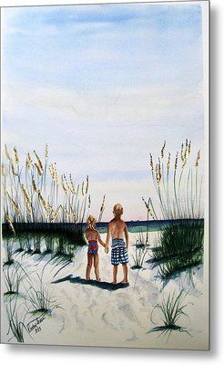 Brother Sister On Beach Sold Metal Print by Richard Benson