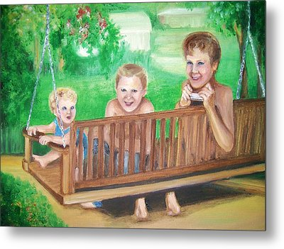 Brothers Hanging Out Together Metal Print by Martha Suhocke