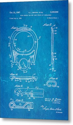 Brown Can Ring Pull Patent Art 1967 Blueprint Metal Print