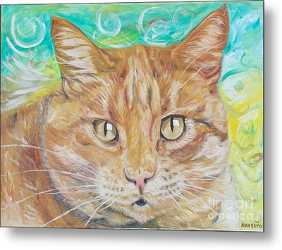 Metal Print featuring the painting Brown Cat by PainterArtist FINs husband Maestro