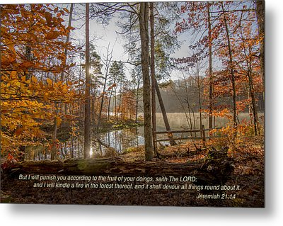 Brown County State Park Nashville Indiana Biblical Verse Ogle Lake Jeremiah  Metal Print
