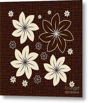 Brown Floral Design Metal Print by Gaspar Avila