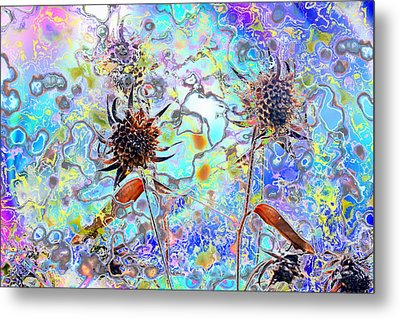Brown Flower Abstract Metal Print
