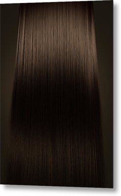 Brown Hair Perfect Straight Metal Print by Allan Swart