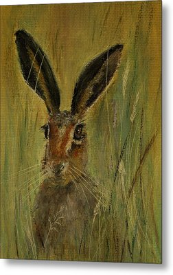 Metal Print featuring the painting Brown Hare Miniature by Lynn Hughes