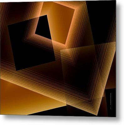 Brown Lines In Geometric Art Metal Print by Mario Perez
