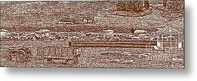 Brown Tone Harvest Scene Sketch Style Panorama Metal Print by Minding My  Visions by Adri and Ray