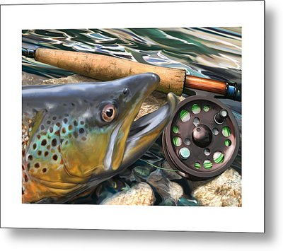Brown Trout Sunset Metal Print