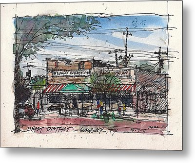 Metal Print featuring the mixed media Brown's Barber Shop by Tim Oliver
