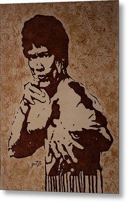 Bruce Lee Original Coffee Painting Metal Print by Georgeta Blanaru