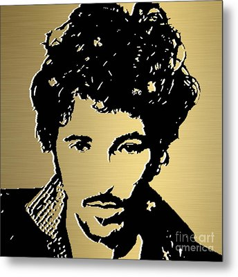 Bruce Springsteen Gold Series Metal Print by Marvin Blaine