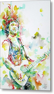 Bruce Springsteen Playing The Guitar Watercolor Portrait.2 Metal Print by Fabrizio Cassetta