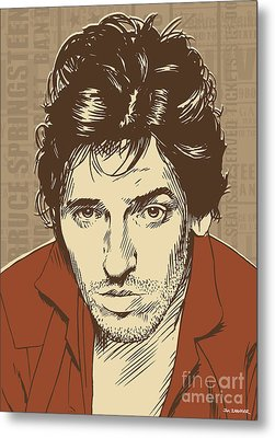 Bruce Springsteen Pop Art Metal Print by Jim Zahniser