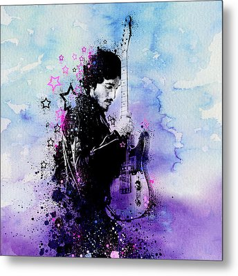 Bruce Springsteen Splats And Guitar 2 Metal Print