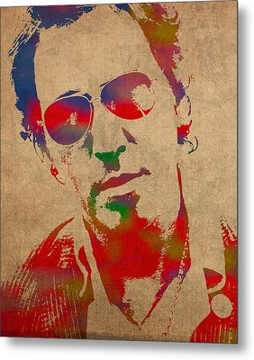 Bruce Springsteen Watercolor Portrait On Worn Distressed Canvas Metal Print