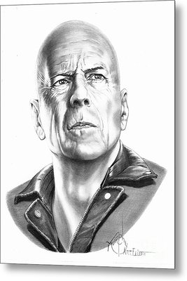 Bruce Willis Metal Print by Murphy Elliott