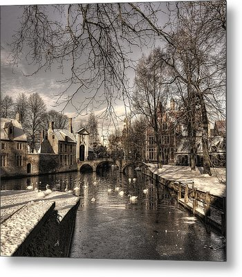 Bruges In Christmas Dress Metal Print