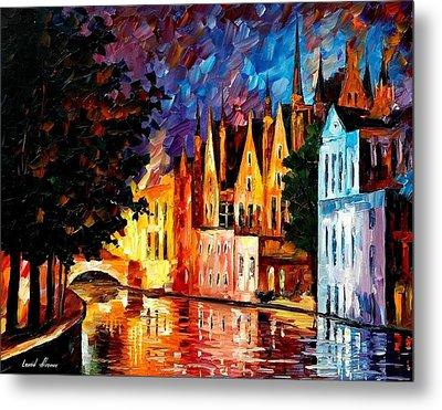Bruges - Northern Venice Metal Print by Leonid Afremov