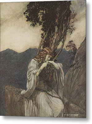 Brunnhilde Kisses The Ring That Siegfried Has Left With Her Metal Print by Arthur Rackham