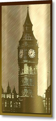 Brush Tone Big Ben Metal Print by Debra     Vatalaro