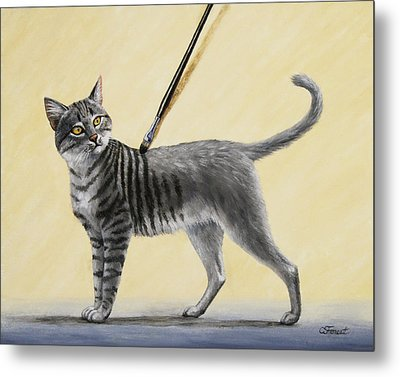 Brushing The Cat - No. 2 Metal Print