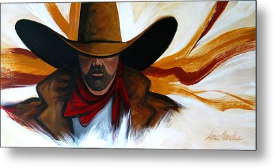 Metal Print featuring the painting Brushstroke Cowboy #4 by Lance Headlee