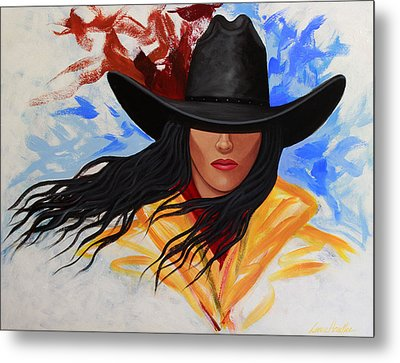 Metal Print featuring the painting Brushstroke Cowgirl #3 by Lance Headlee