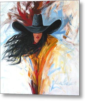 Brushstroke Cowgirl Metal Print