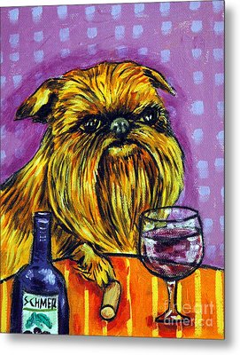 Brussels Griffon At The Wine Bar Metal Print by Jay  Schmetz