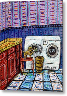 Brussels Griffon Doing The Laundry Metal Print by Jay  Schmetz