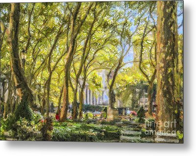 Bryant Park October Morning Metal Print by Liz Leyden