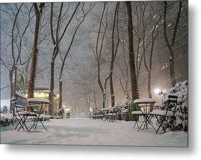 Bryant Park - Winter Snow Wonderland - Metal Print by Vivienne Gucwa