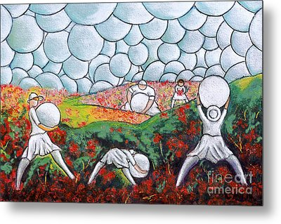 Bubble Sky And Flower Fields Metal Print by William Cain