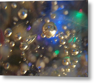 Bubbles Glass With Light Metal Print