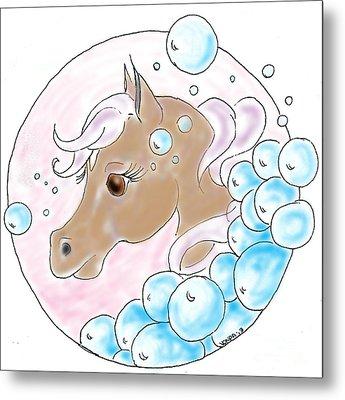 Bubbles Profile Metal Print