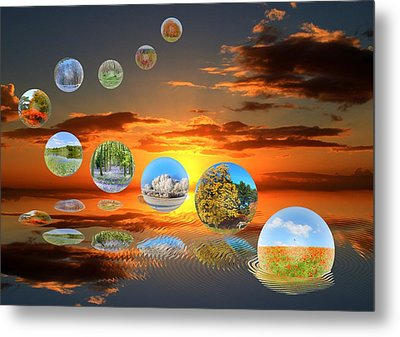 Bubbling Seasons. Metal Print