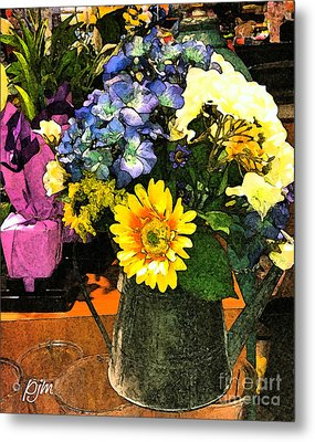 Metal Print featuring the photograph Bucket Of Flowers by Phil Mancuso