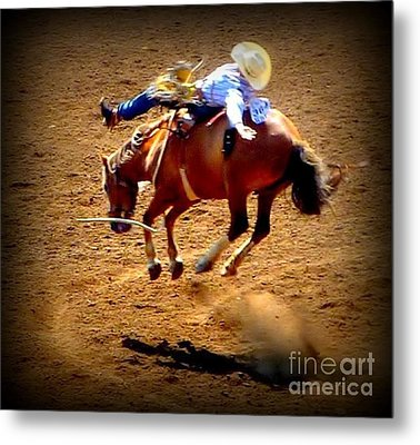 Metal Print featuring the photograph Bucking Broncos Rodeo Time by Susan Garren