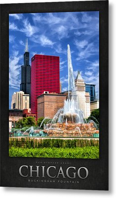Buckingham Fountain Sears Tower Poster Metal Print by Christopher Arndt