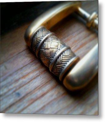 Buckle On Wood Metal Print by Jaime Neo