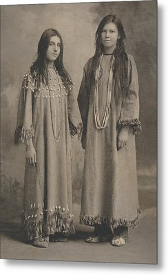 Metal Print featuring the photograph Buckskin  Beadwork Native American Girls by Paul Ashby Antique Image