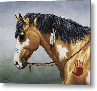Buckskin Native American War Horse Metal Print by Crista Forest