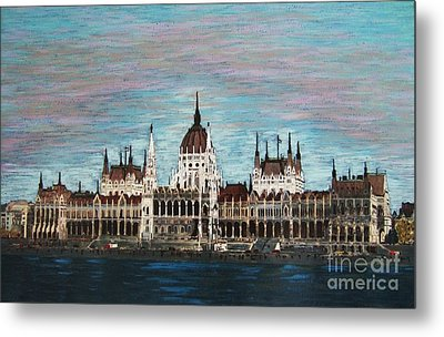 Metal Print featuring the painting Budapest Parliament By Jasna Gopic by Jasna Gopic